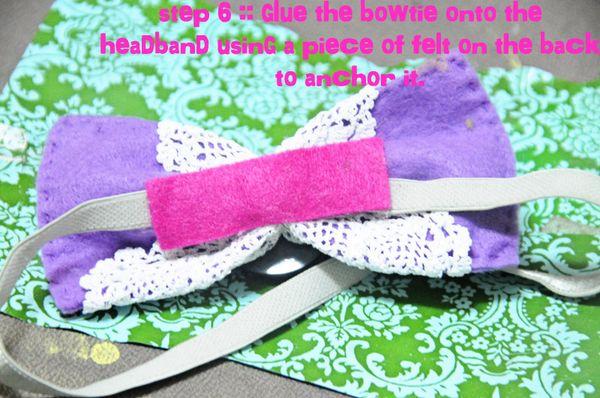 Bowtie headband step 6