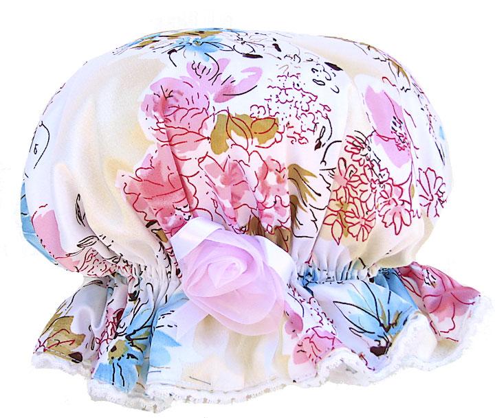 Shower-cap-floral-pink